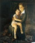 148.O - Retrato de la familia con lobos (109 x 128 Cms) 1.959