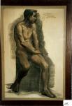 153.D - Dibujo en reposo (70 x 105 Cms) Dibujo a carbón y sandina