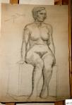 160.D - Dibujo de mujer sentada (77 x 107 Cms) Dibujo a lápiz)