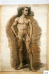 163.D - Desnudo a carbón y sepia (77 x 107 Cms) Dibujo a carbón y sanguina