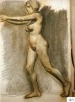 165.D - Desnudo en movimiento (77 x 107 Cms) Dibujo a carbón y sanguina