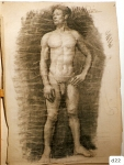 166.D - Desnudo en reposo (77 x 107 Cms) Dibujo a carbón