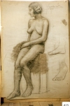 168.D - Desnudo femenino (77 x 107 Cms) Dibujo a carbón y sanguina