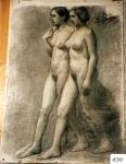 172.D - Dibujo de mujeres en movimiento (77 x 107 Cms) Dibujo a lápiz y carbón