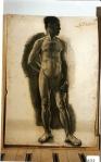 174.D - Desnudo en reposo (77 x 107 Cms) Dibujo a carbón