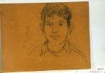 176.D - Dibujo estudio de cabeza de niño (42 x 33 Cms) Dibujo a lápiz sobre tablés