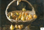 29.O - Cesto con peras, o Bodegón de peras (80 x 63 Cms) 1.955