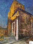 32.O - La Iglesia con el sol de la tarde (68 x 88 Cms) 1.971