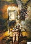 32.O - San Roque consolado por un Angel (65 x 78 Cms)