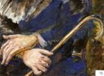 54.O - Estudio de manos con bastón (60 x 44 Cms) 1.965