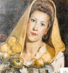 6.O - Muchacha con Pañuelo Amarillo, Mª. Jesús la de Andrín. (45 x 48 Cms) 1.944)