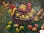 73.O - Manzanas y gallo pelado (72 x 60 Cms) 1.953