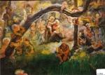 89.O - La madre tierra, o Estudio de niños en el campo (76 x 62 Cms) 1.983