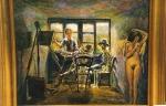 9.O - Mis maestros Goya, Rembrandt y la modelo (58 x 49 Cms) 1.984