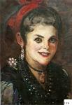 93.O - Retrato de aldeana con pella de fondo (Enma). (44 x 49 Cms) 1.935